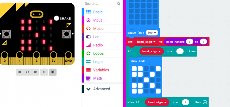 Micro:bit fun: rock-scissors-paper game